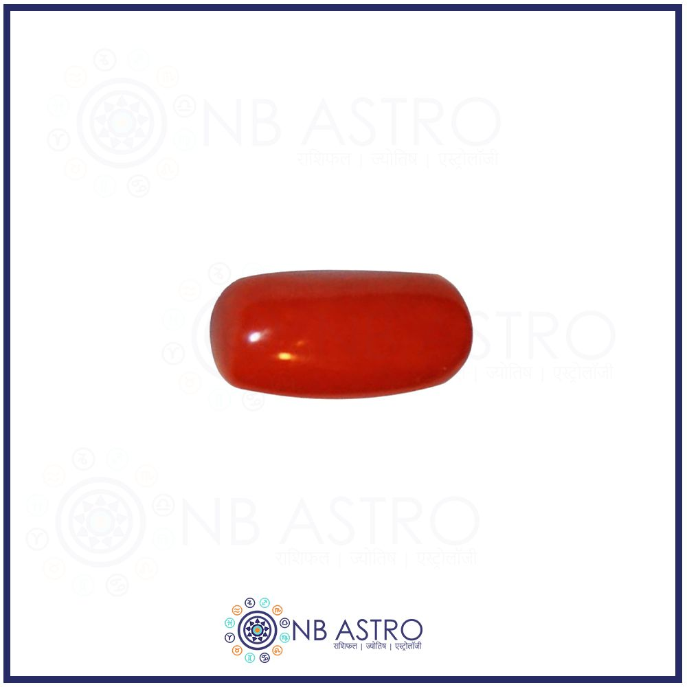 Red Coral Stone/Lal Moonga- 5.25 Ratti - (VS Grade) 100% Natural, Certified and Mantra Treated